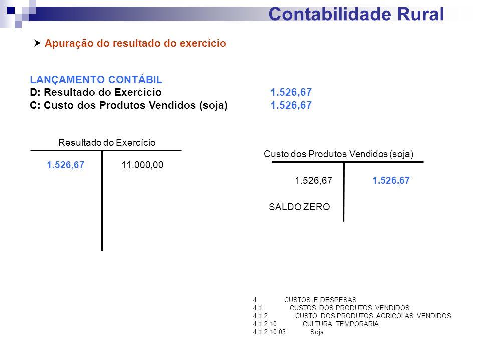 Contabilidade Rural Apuração do resultado do exercício LANÇAMENTO CONTÁBIL D: Resultado do Exercício1.526,67 C: Custo dos Produtos Vendidos (soja)1.52