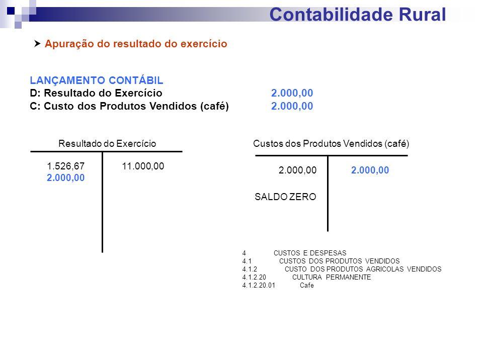 Contabilidade Rural Apuração do resultado do exercício LANÇAMENTO CONTÁBIL D: Resultado do Exercício2.000,00 C: Custo dos Produtos Vendidos (café)2.00