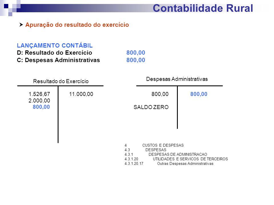 Contabilidade Rural Apuração do resultado do exercício LANÇAMENTO CONTÁBIL D: Resultado do Exercício800,00 C: Despesas Administrativas800,00 Resultado