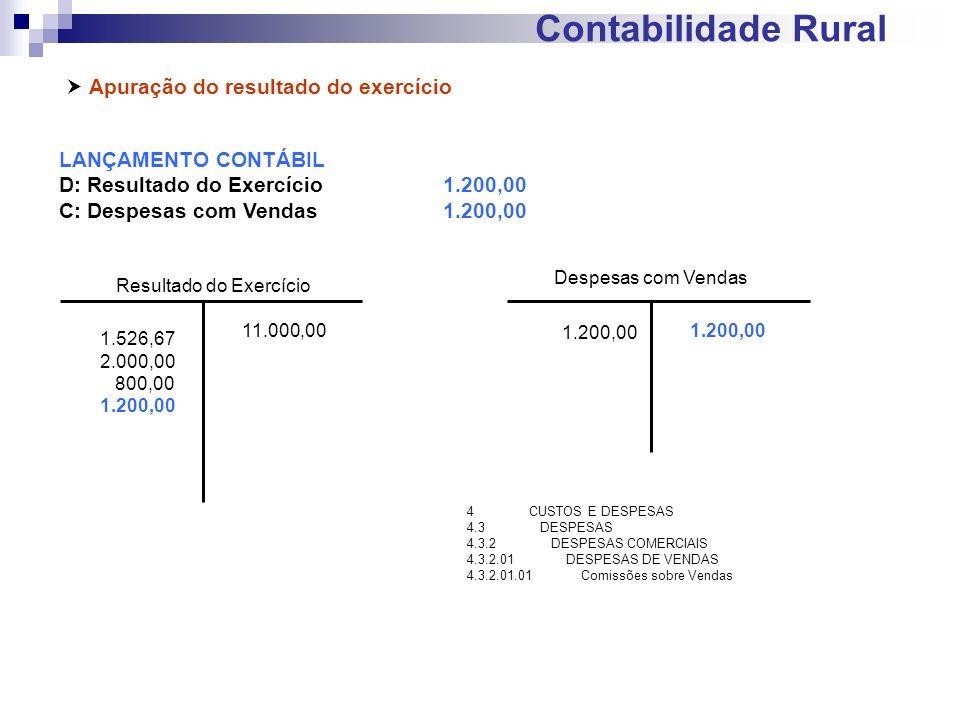 Contabilidade Rural Apuração do resultado do exercício LANÇAMENTO CONTÁBIL D: Resultado do Exercício1.200,00 C: Despesas com Vendas1.200,00 Resultado