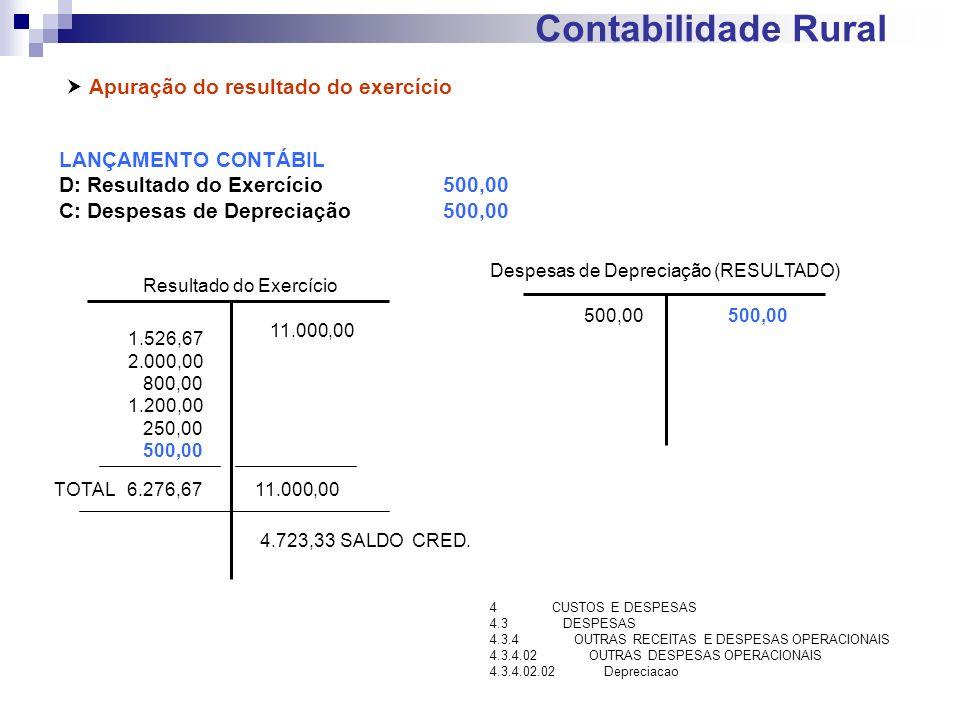 Contabilidade Rural Apuração do resultado do exercício LANÇAMENTO CONTÁBIL D: Resultado do Exercício500,00 C: Despesas de Depreciação500,00 Resultado