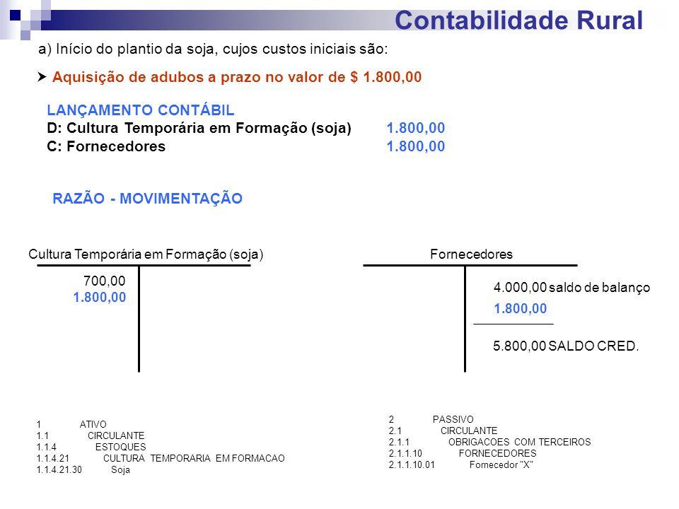Contabilidade Rural a) Início do plantio da soja, cujos custos iniciais são: Aquisição de adubos a prazo no valor de $ 1.800,00 LANÇAMENTO CONTÁBIL D: