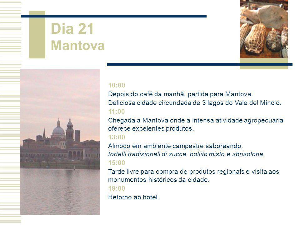 10:00 Depois do café da manhã, partida para Mantova. Deliciosa cidade circundada de 3 lagos do Vale del Mincio. 11:00 Chegada a Mantova onde a intensa