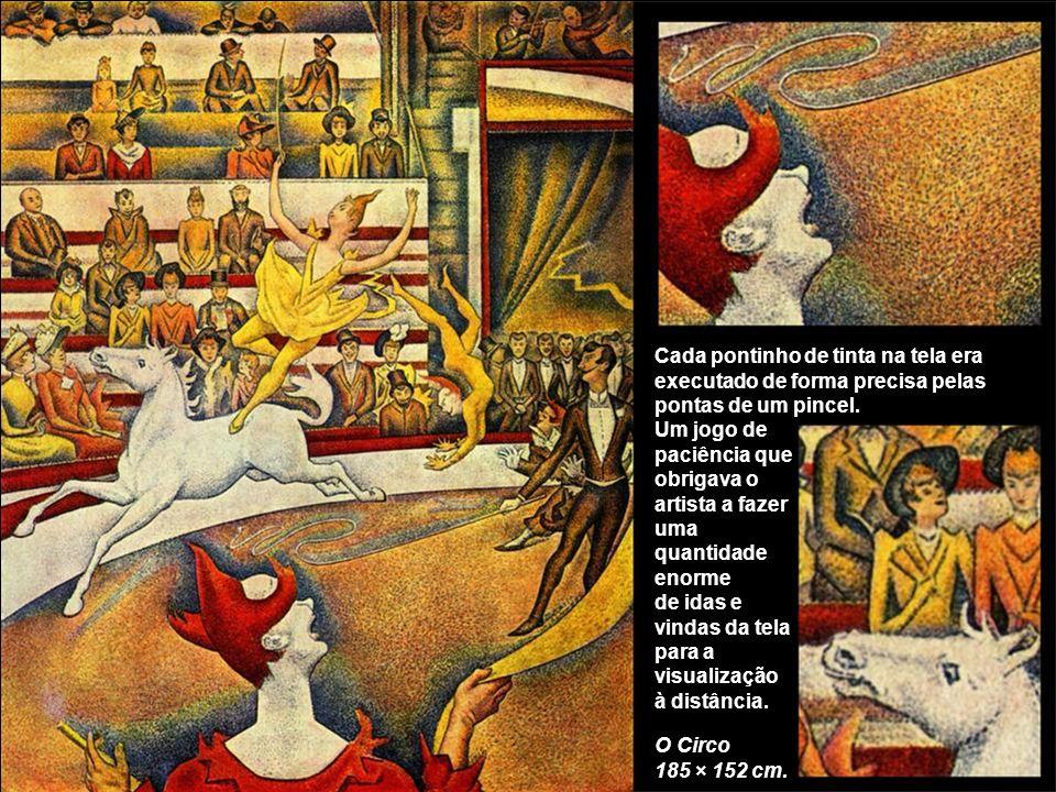 O Circo 185 × 152 cm. Cada pontinho de tinta na tela era executado de forma precisa pelas pontas de um pincel. Um jogo de paciência que obrigava o art