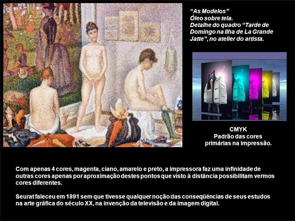 As Modelos Óleo sobre tela. Detalhe do quadro Tarde de Domingo na Ilha de La Grande Jatte, no atelier do artista. Com apenas 4 cores, magenta, ciano,