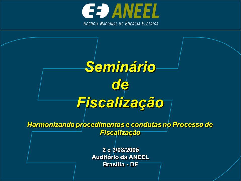 Seminário de Fiscalização Harmonizando procedimentos e condutas no Processo de Fiscalização Seminário de Fiscalização Harmonizando procedimentos e con