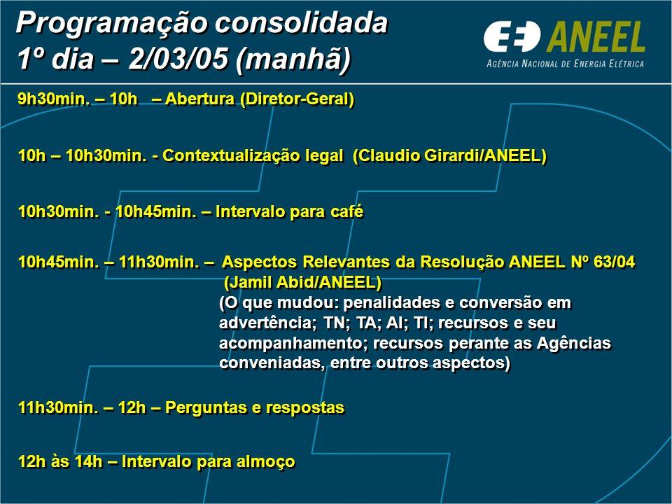 Programação consolidada 1º dia – 2/03/05 (manhã) 9h30min. – 10h – Abertura (Diretor-Geral) 10h – 10h30min. - Contextualização legal (Claudio Girardi/A
