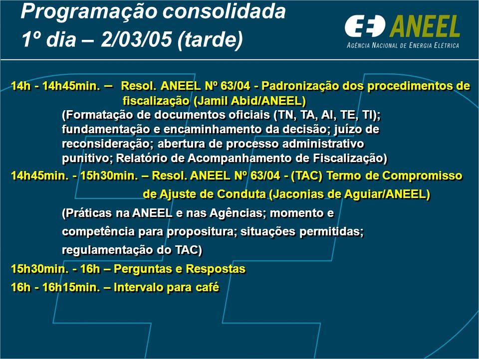 14h - 14h45min. – Resol. ANEEL Nº 63/04 - Padronização dos procedimentos de fiscalização (Jamil Abid/ANEEL) (Formatação de documentos oficiais (TN, TA