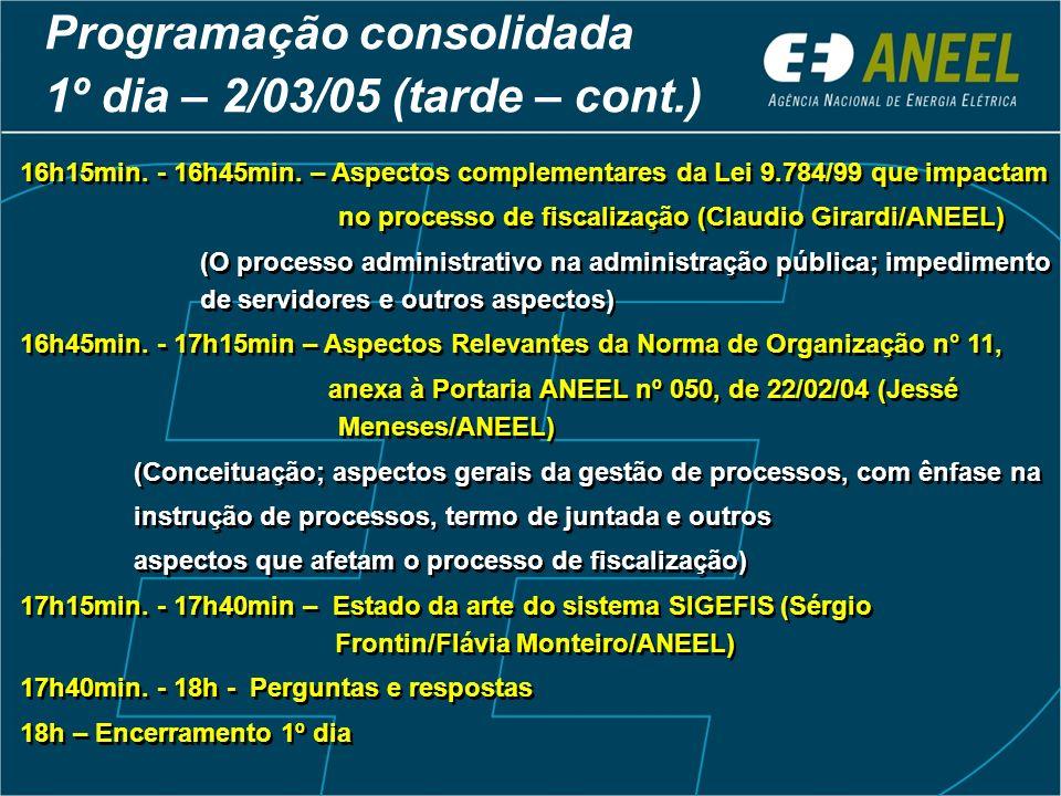 Programação consolidada 1º dia – 2/03/05 (tarde – cont.) 16h15min. - 16h45min. – Aspectos complementares da Lei 9.784/99 que impactam no processo de f