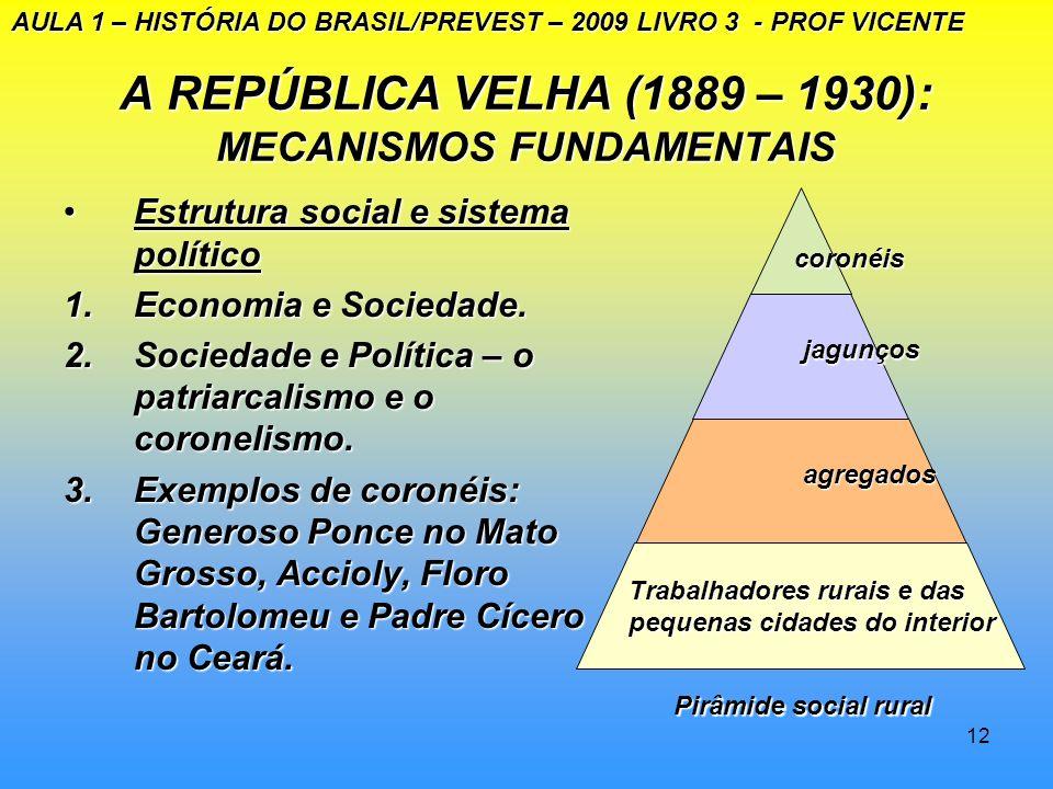 11 A REPÚBLICA VELHA (1889 – 1930) A presidência de Floriano Peixoto (1891- 1894A presidência de Floriano Peixoto (1891- 1894) A revolta da Armada – S