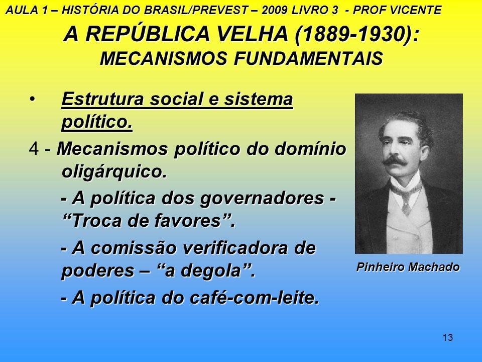 12 A REPÚBLICA VELHA (1889 – 1930): MECANISMOS FUNDAMENTAIS Estrutura social e sistema políticoEstrutura social e sistema político 1.Economia e Socied