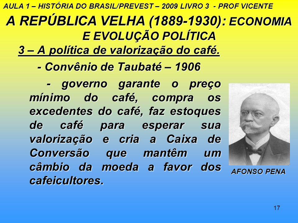 16 A REPÚBLICA VELHA (1889–1930): ECONOMIA E EVOLUÇÃO POLÍTICA 2 - O Estado a serviço do café - a política financeira de Campos Sales - a política fin