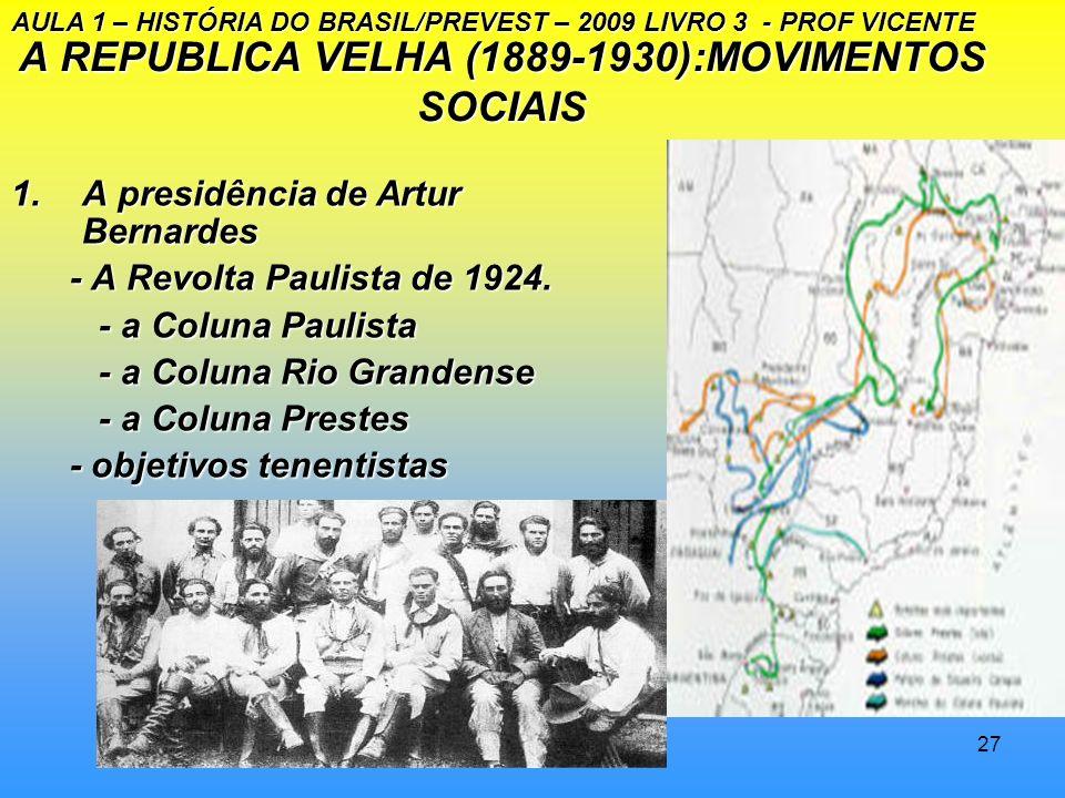 26 A REPÚBLICA VELHA (1889- 1930): MOVIMENTOS SOCIAIS 1.A presidência de Epitácio Pessoa - o episódio das Cartas Falsas - o episódio das Cartas Falsas