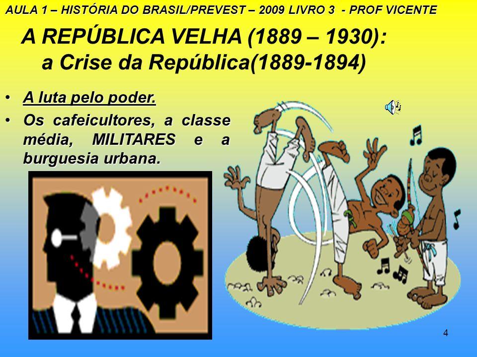 3 A REPÚBLICA VELHA (1889-1930): a Crise da República (1889-1894) Introdução - domínio dos fazendeiros do café AULA 1 – HISTÓRIA DO BRASIL/PREVEST – 2