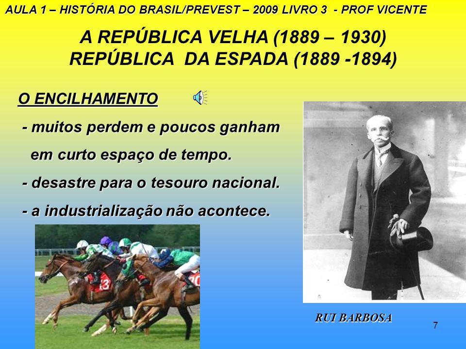 6 A REPÚBLICA VELHA (1889 – 1930): REPÚBLICA DA ESPADA (1889 – 1894) AULA 1 – HISTÓRIA DO BRASIL/PREVEST – 2009 LIVRO 3 - PROF VICENTE A política indu