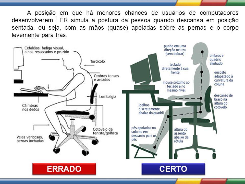 A posição em que há menores chances de usuários de computadores desenvolverem LER simula a postura da pessoa quando descansa em posição sentada, ou se