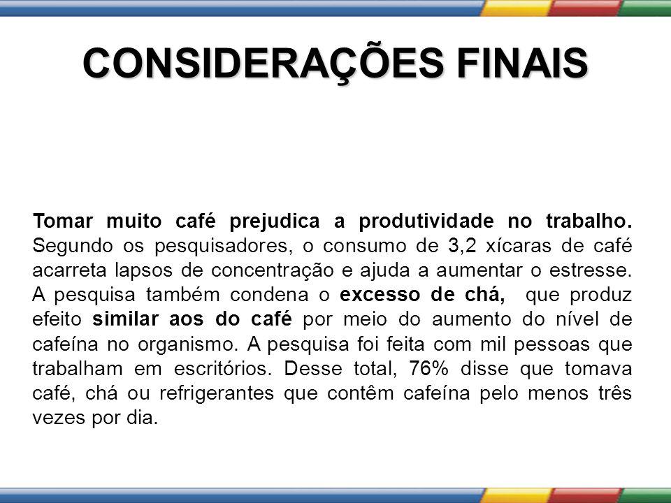 CONSIDERAÇÕES FINAIS Tomar muito café prejudica a produtividade no trabalho. Segundo os pesquisadores, o consumo de 3,2 xícaras de café acarreta lapso