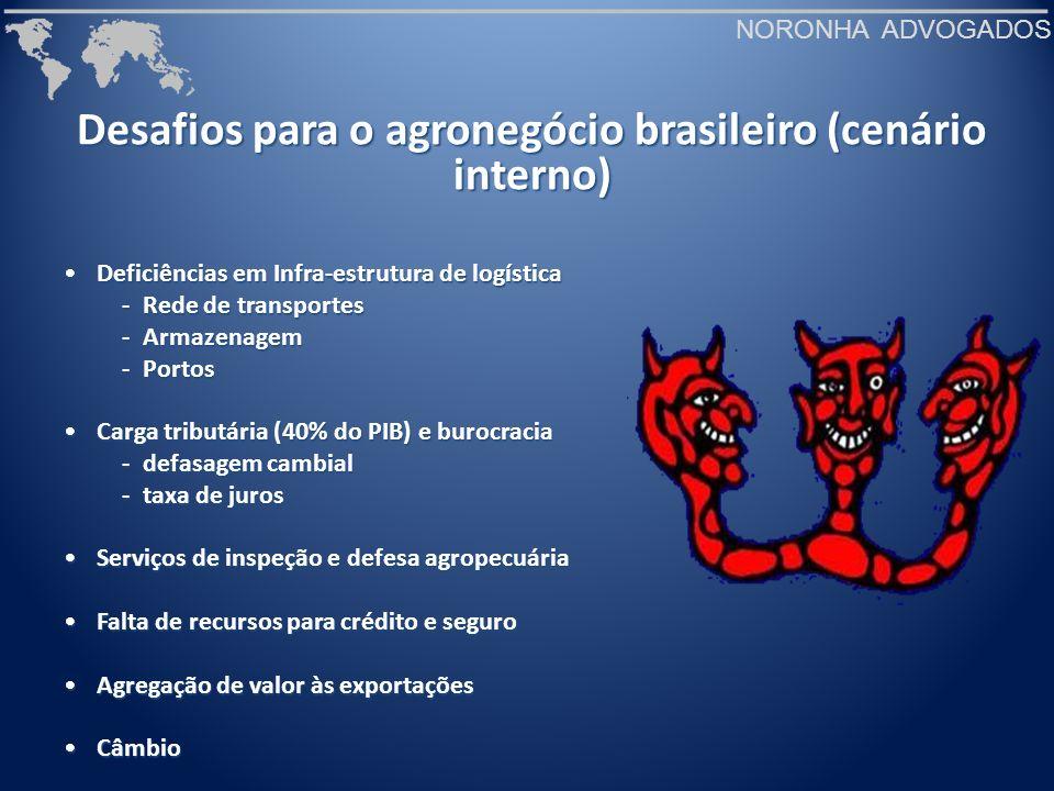 NORONHA ADVOGADOS Desafios para o agronegócio brasileiro (cenário interno) Deficiências em Infra-estrutura de logísticaDeficiências em Infra-estrutura
