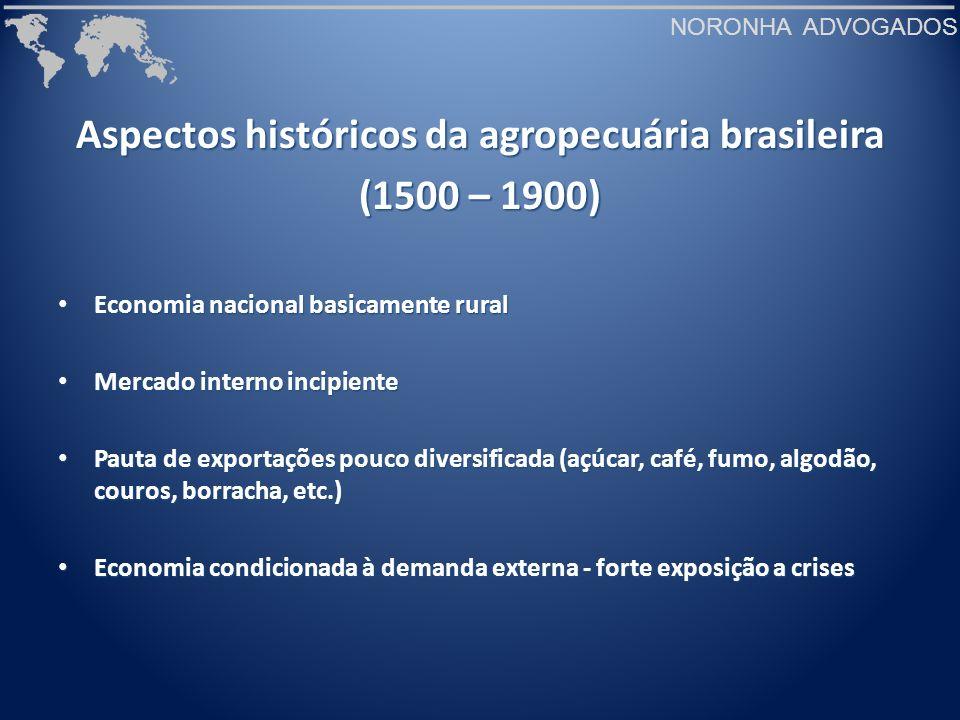 NORONHA ADVOGADOS Desafios para o agronegócio brasileiro (cenário interno) Deficiências em Infra-estrutura de logísticaDeficiências em Infra-estrutura de logística - Rede de transportes - Rede de transportes - Armazenagem - Armazenagem - Portos - Portos Carga tributária (40% do PIB) e burocraciaCarga tributária (40% do PIB) e burocracia - defasagem cambial - defasagem cambial - taxa de juros - taxa de juros Serviços de inspeção e defesa agropecuáriaServiços de inspeção e defesa agropecuária Falta de recursos para crédito e seguroFalta de recursos para crédito e seguro Agregação de valor às exportaçõesAgregação de valor às exportações CâmbioCâmbio
