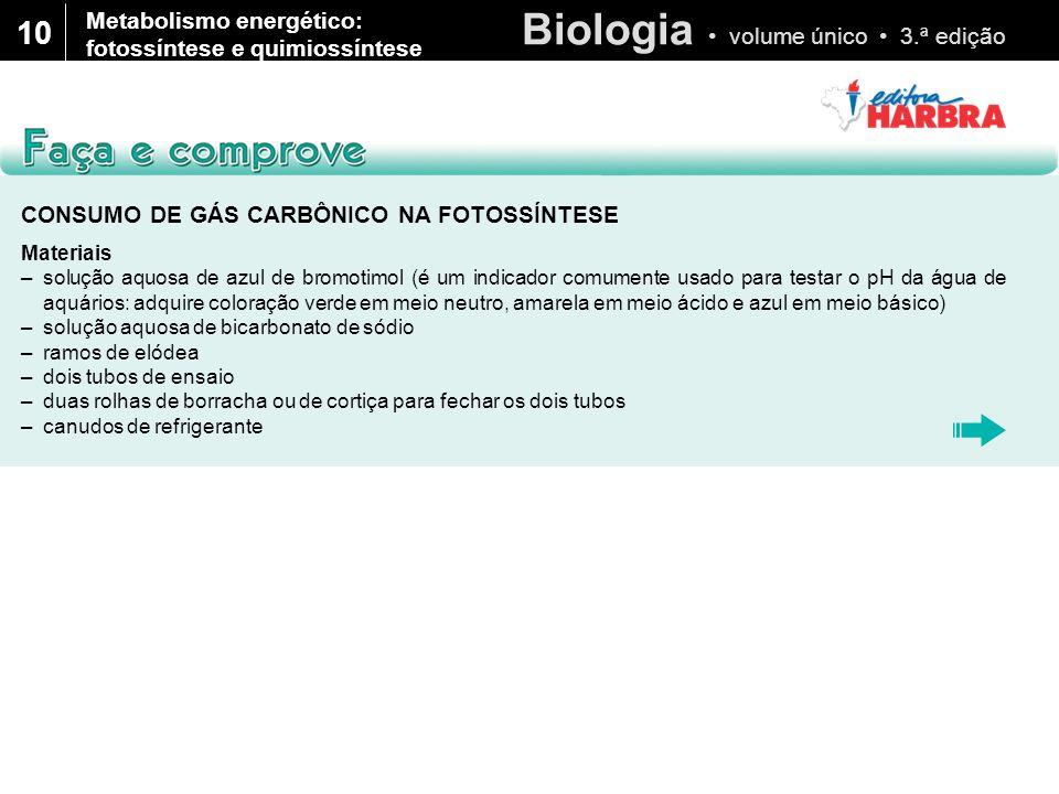Biologia volume único 3.ª edição 10 CONSUMO DE GÁS CARBÔNICO NA FOTOSSÍNTESE Materiais –solução aquosa de azul de bromotimol (é um indicador comumente