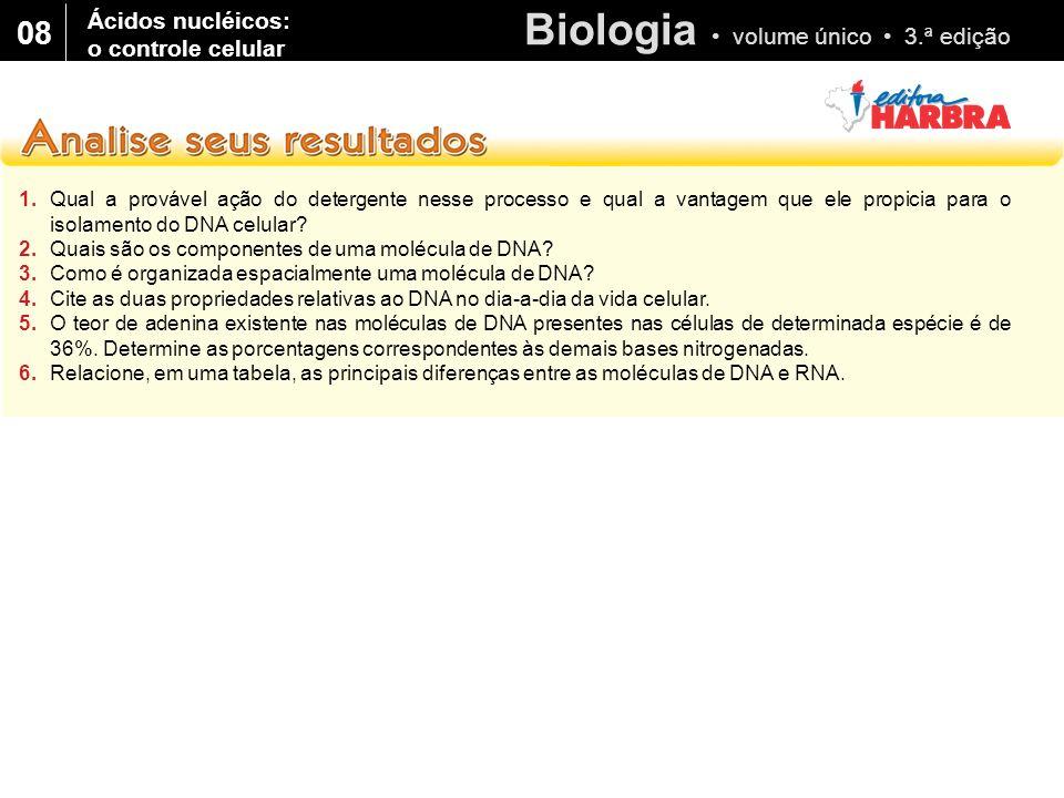 Biologia volume único 3.ª edição 08 1.Qual a provável ação do detergente nesse processo e qual a vantagem que ele propicia para o isolamento do DNA ce