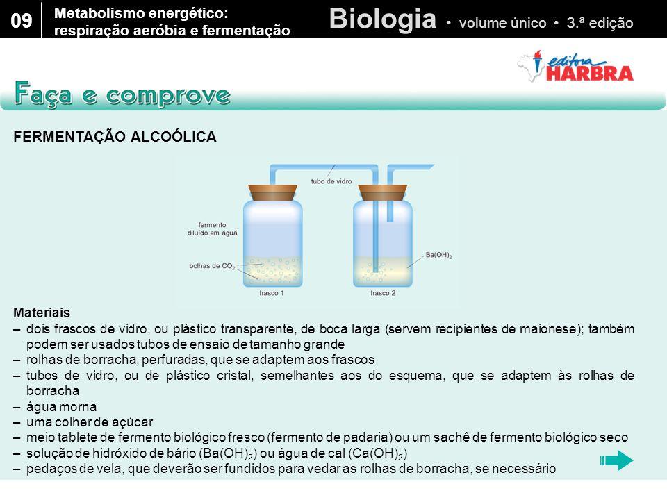 Biologia volume único 3.ª edição 09 FERMENTAÇÃO ALCOÓLICA (Cont.) Como proceder Dissolva uma colher de chá de açúcar na água morna do frasco 1.