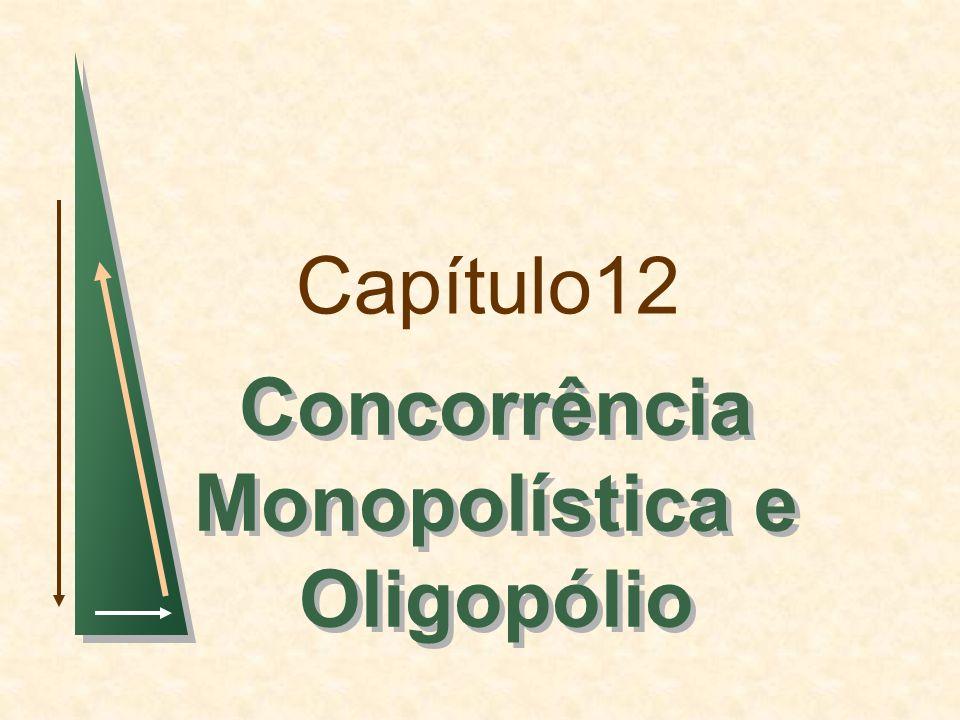 Capítulo 12Slide 2 Tópicos para Discussão Concorrência Monopolística Oligopólio Concorrência de Preços Concorrência versus Conluio: Dilema dos Prisioneiros