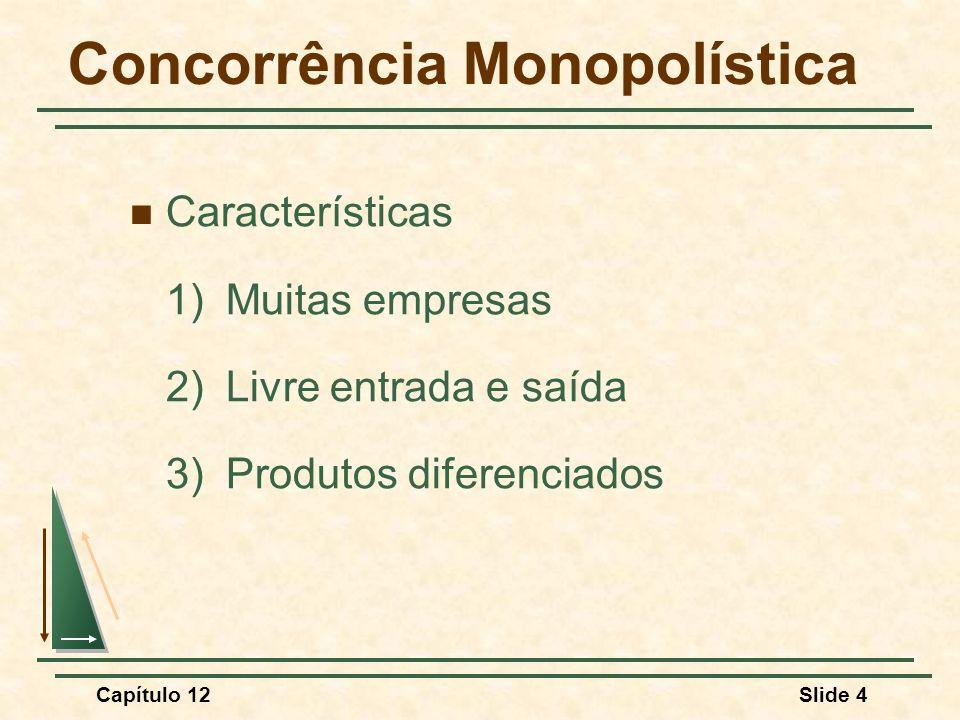 Capítulo 12Slide 15 Concorrência Monopolística Perguntas 1)Se o mercado se tornasse competitivo, o que aconteceria com o nível de produção e o preço.