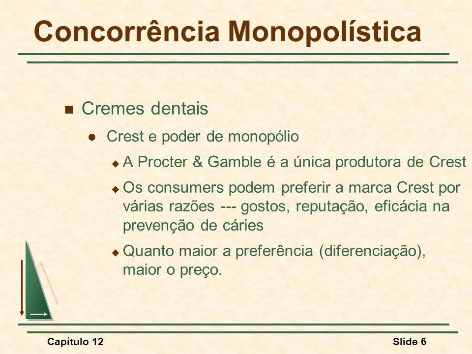 Capítulo 12Slide 7 Concorrência Monopolística Pergunta A Procter & Gamble possui poder de monopólio significativo no mercado de cremes dentais?