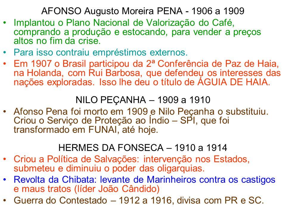 AFONSO Augusto Moreira PENA - 1906 a 1909 Implantou o Plano Nacional de Valorização do Café, comprando a produção e estocando, para vender a preços al