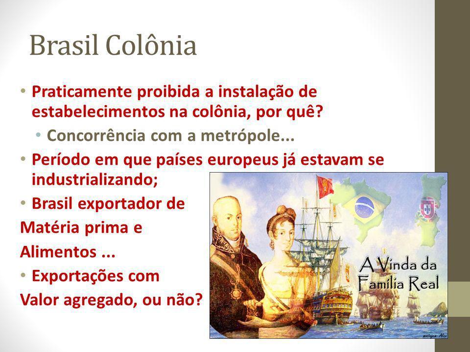 Brasil Colônia Praticamente proibida a instalação de estabelecimentos na colônia, por quê? Concorrência com a metrópole... Período em que países europ