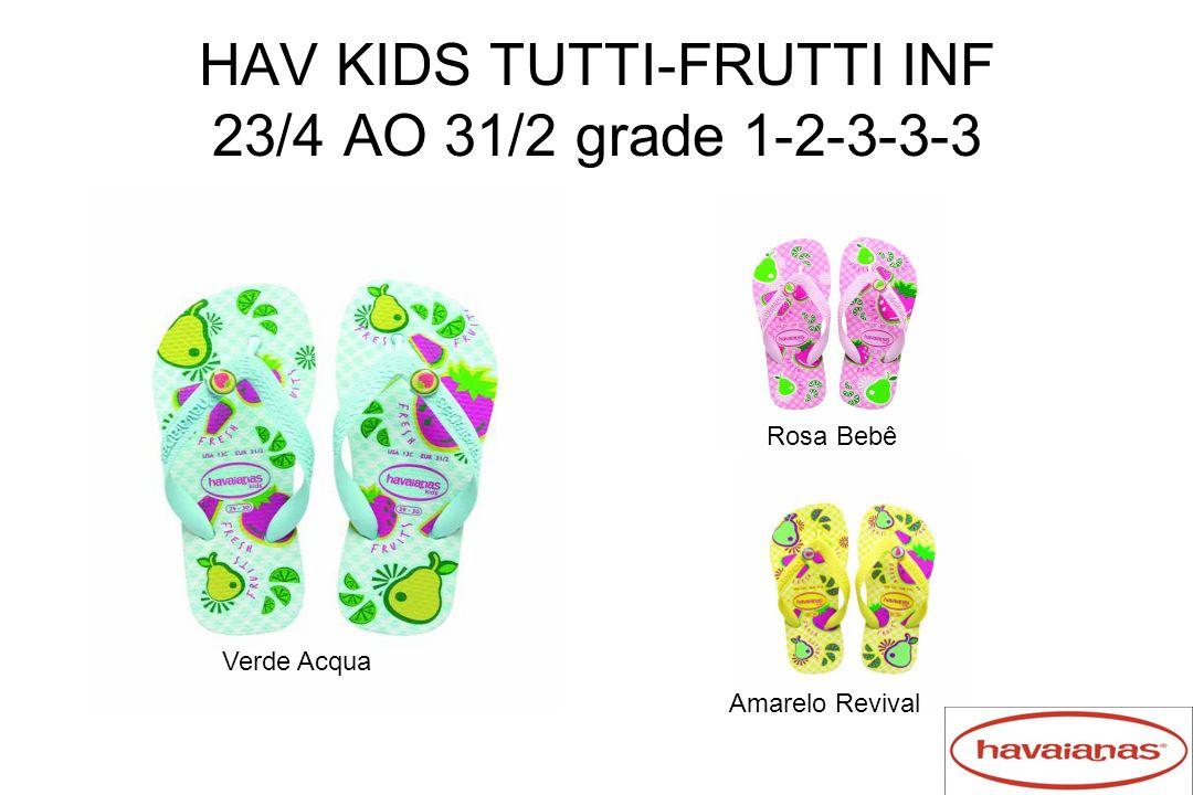 HAV KIDS TUTTI-FRUTTI INF 23/4 AO 31/2 grade 1-2-3-3-3 Verde Acqua Rosa Bebê Amarelo Revival