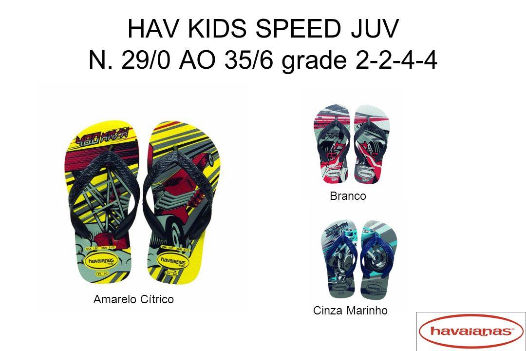 HAV KIDS SPEED JUV N. 29/0 AO 35/6 grade 2-2-4-4 Amarelo Cítrico Branco Cinza Marinho