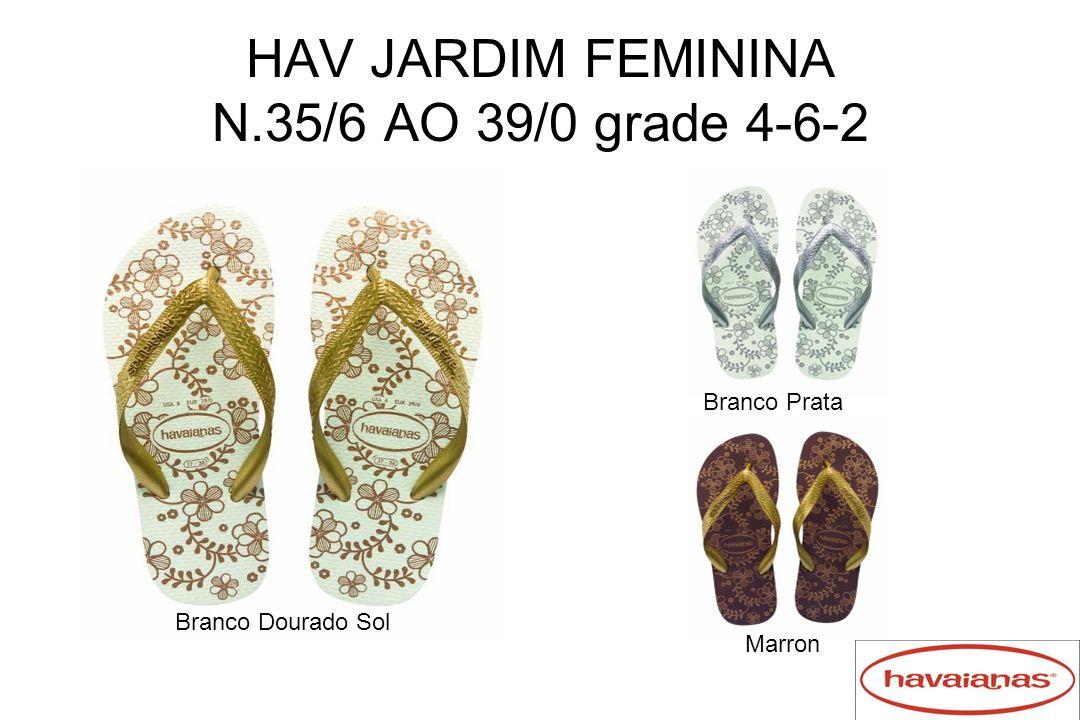 HAV JARDIM FEMININA N.35/6 AO 39/0 grade 4-6-2 Branco Dourado Sol Branco Prata Marron