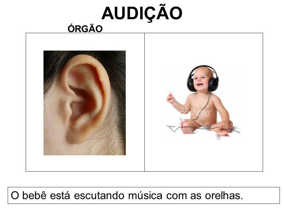 AUDIÇÃO ÓRGÃO O bebê está escutando música com as orelhas.
