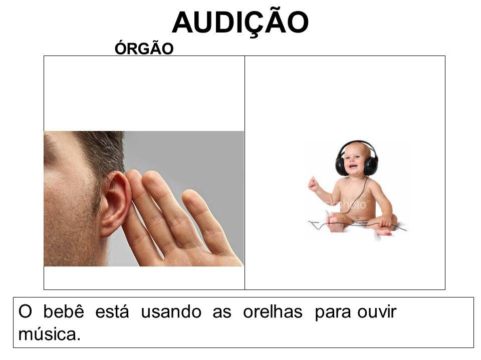 AUDIÇÃO ÓRGÃO O bebê está usando as orelhas para ouvir música.