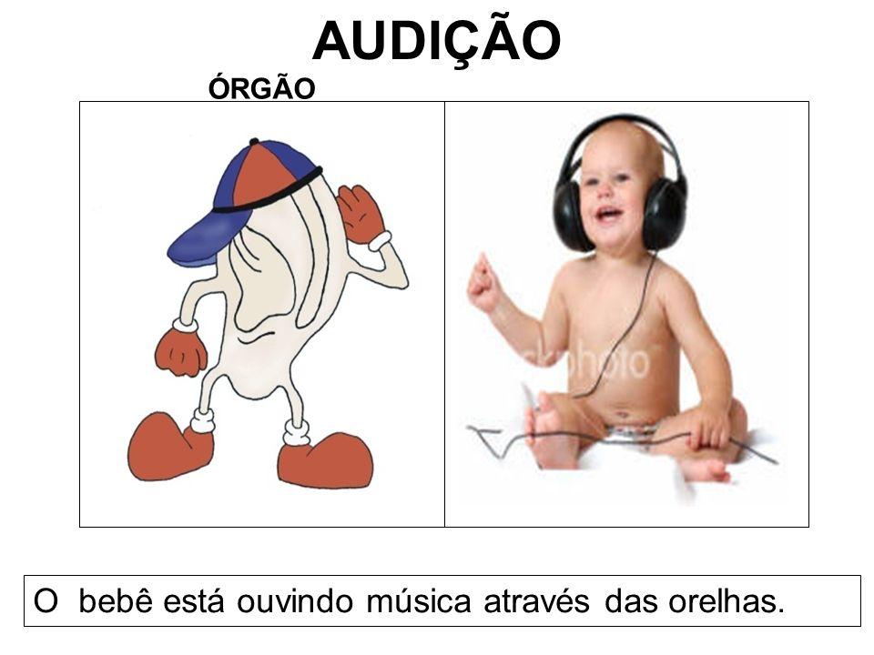 AUDIÇÃO ÓRGÃO O bebê está ouvindo música através das orelhas.