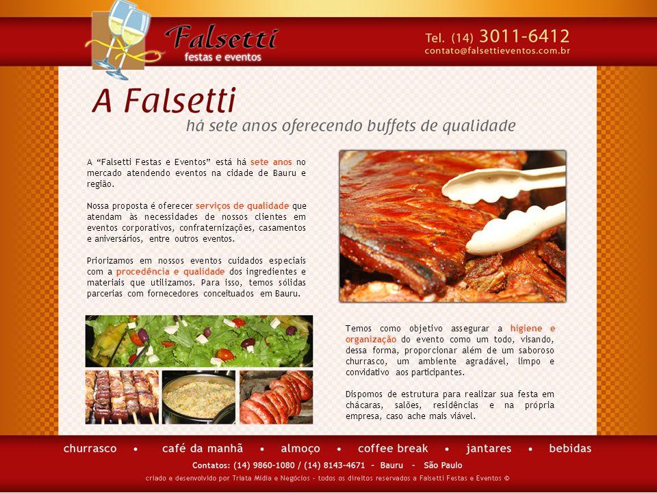 A Falsetti Festas e Eventos está há sete anos no mercado atendendo eventos na cidade de Bauru e região. Nossa proposta é oferecer serviços de qualidad