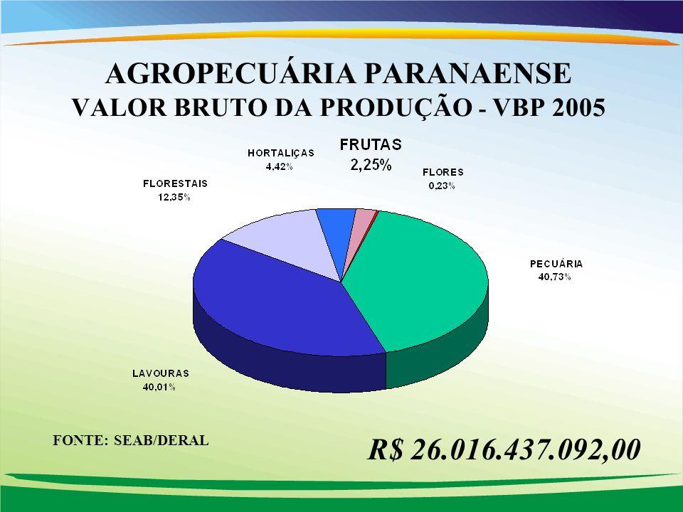 AGROPECUÁRIA PARANAENSE VALOR BRUTO DA PRODUÇÃO - VBP 2005 R$ 26.016.437.092,00 FONTE: SEAB/DERAL