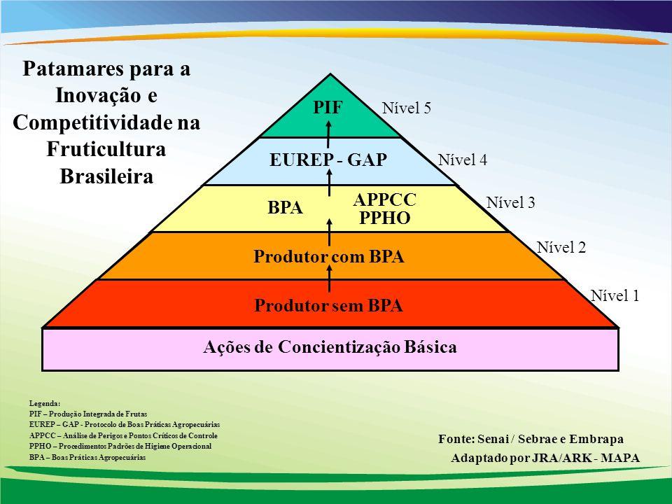 Ações de Concientização Básica Patamares para a Inovação e Competitividade na Fruticultura Brasileira Produtor com BPA BPA APPCC PPHO PIF Legenda: PIF – Produção Integrada de Frutas EUREP – GAP - Protocolo de Boas Práticas Agropecuárias APPCC – Análise de Perigos e Pontos Críticos de Controle PPHO – Procedimentos Padrões de Higiene Operacional BPA – Boas Práticas Agropecuárias Nível 5 Nível 3 Nível 2 Nível 1 Produtor sem BPA EUREP - GAP Nível 4 Fonte: Senai / Sebrae e Embrapa JRA/ARK Adaptado por JRA/ARK - MAPA