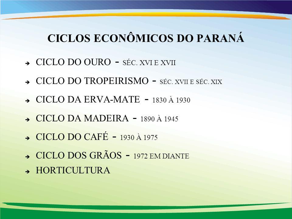 CICLOS ECONÔMICOS DO PARANÁ è CICLO DO OURO - SÉC. XVI E XVII è CICLO DO TROPEIRISMO - SÉC. XVII E SÉC. XIX è CICLO DA ERVA-MATE - 1830 À 1930 è CICLO