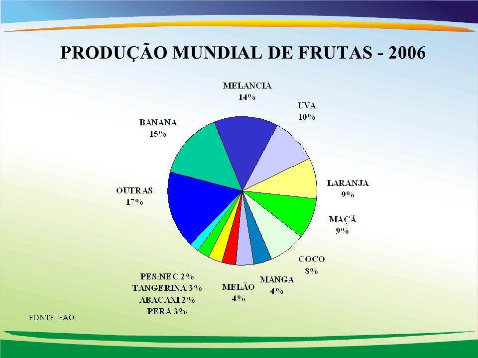 PRODUÇÃO MUNDIAL DE FRUTAS - 2006 FONTE: FAO