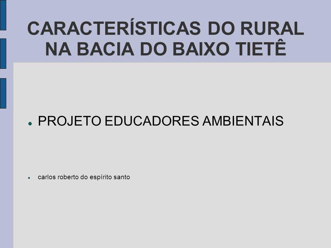 CARACTERÍSTICAS DO RURAL NA BACIA DO BAIXO TIETÊ PROJETO EDUCADORES AMBIENTAIS carlos roberto do espírito santo