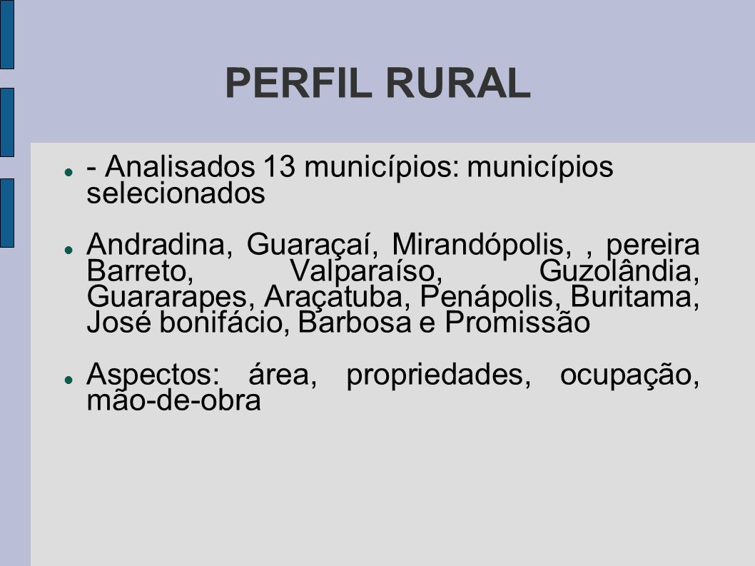 PERFIL RURAL - Analisados 13 municípios: municípios selecionados Andradina, Guaraçaí, Mirandópolis,, pereira Barreto, Valparaíso, Guzolândia, Guararap