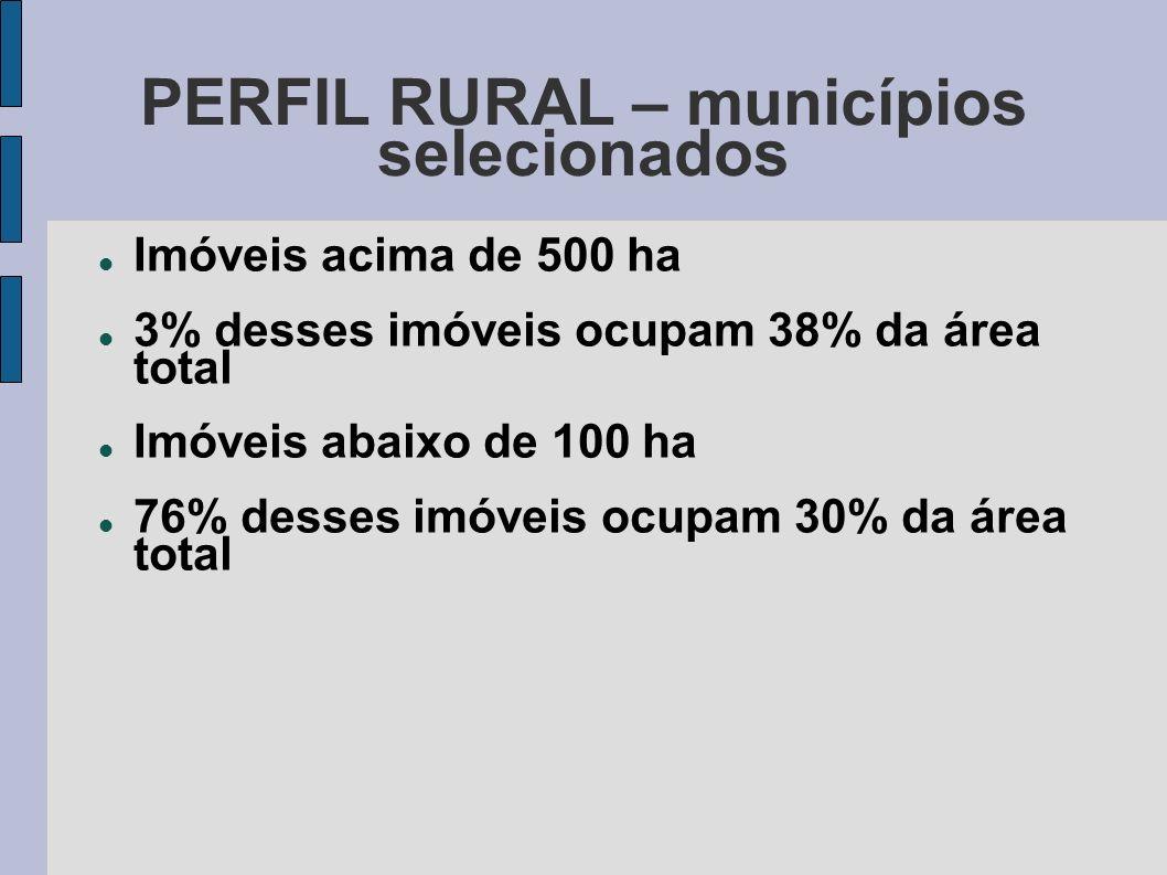 PERFIL RURAL – municípios selecionados Imóveis acima de 500 ha 3% desses imóveis ocupam 38% da área total Imóveis abaixo de 100 ha 76% desses imóveis