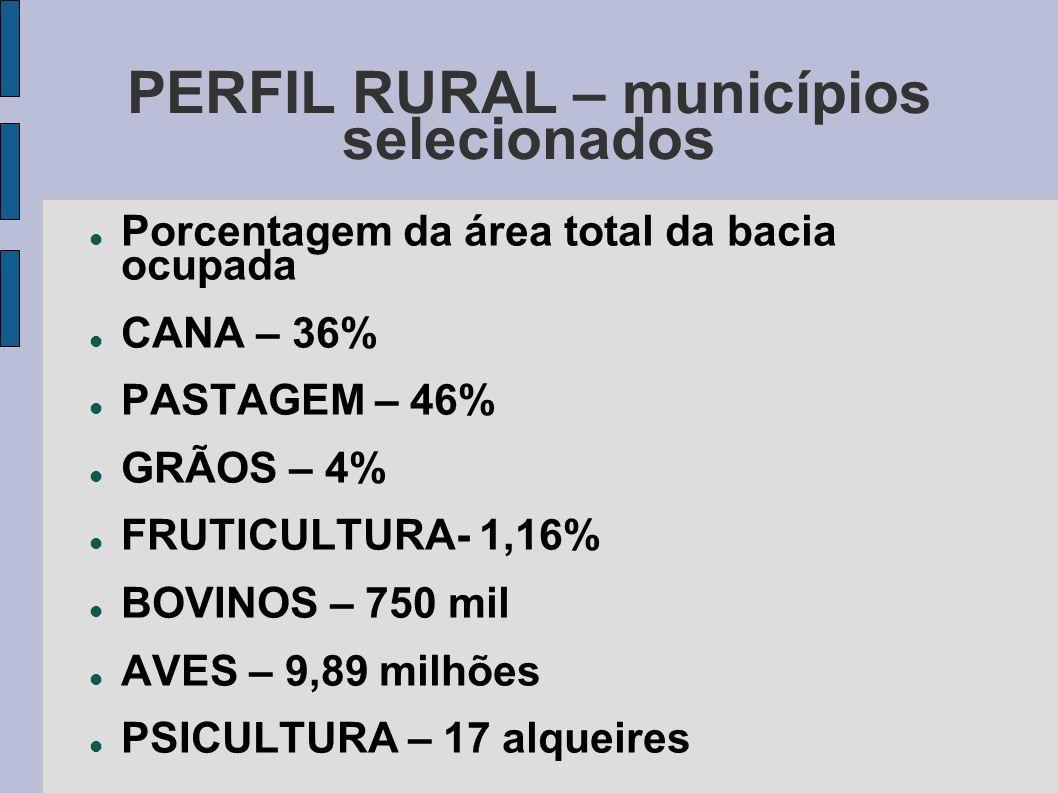 PERFIL RURAL – municípios selecionados Porcentagem da área total da bacia ocupada CANA – 36% PASTAGEM – 46% GRÃOS – 4% FRUTICULTURA- 1,16% BOVINOS – 7