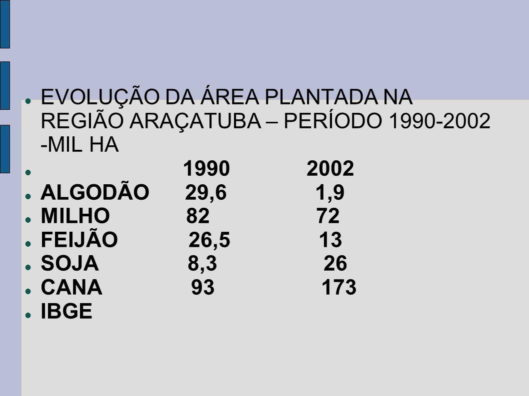 EVOLUÇÃO DA ÁREA PLANTADA NA REGIÃO ARAÇATUBA – PERÍODO 1990-2002 -MIL HA 1990 2002 ALGODÃO 29,6 1,9 MILHO 82 72 FEIJÃO 26,5 13 SOJA 8,3 26 CANA 93 17