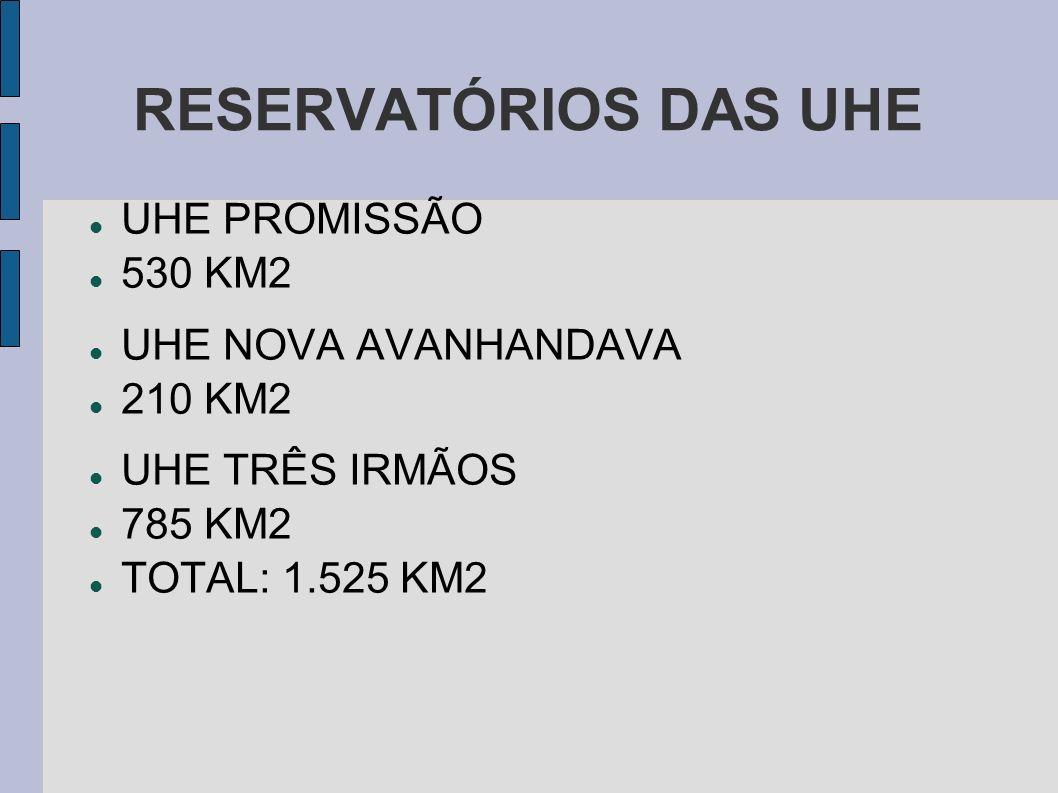 RESERVATÓRIOS DAS UHE UHE PROMISSÃO 530 KM2 UHE NOVA AVANHANDAVA 210 KM2 UHE TRÊS IRMÃOS 785 KM2 TOTAL: 1.525 KM2
