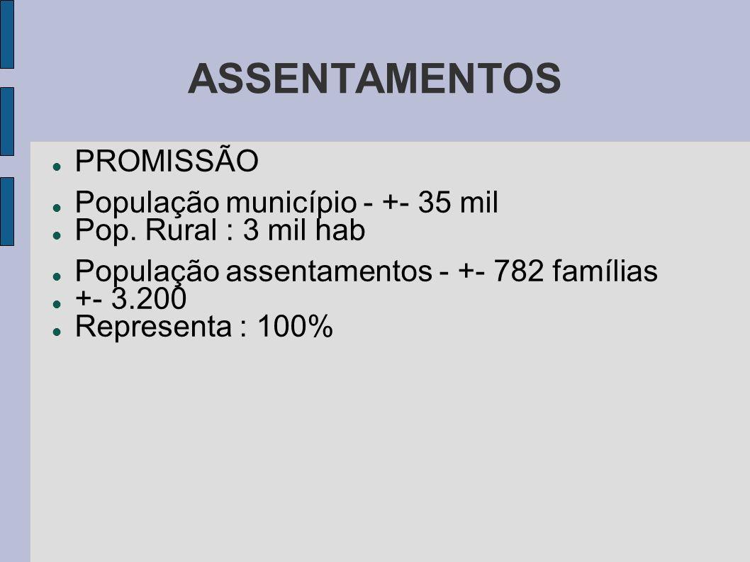 ASSENTAMENTOS PROMISSÃO População município - +- 35 mil Pop. Rural : 3 mil hab População assentamentos - +- 782 famílias +- 3.200 Representa : 100%
