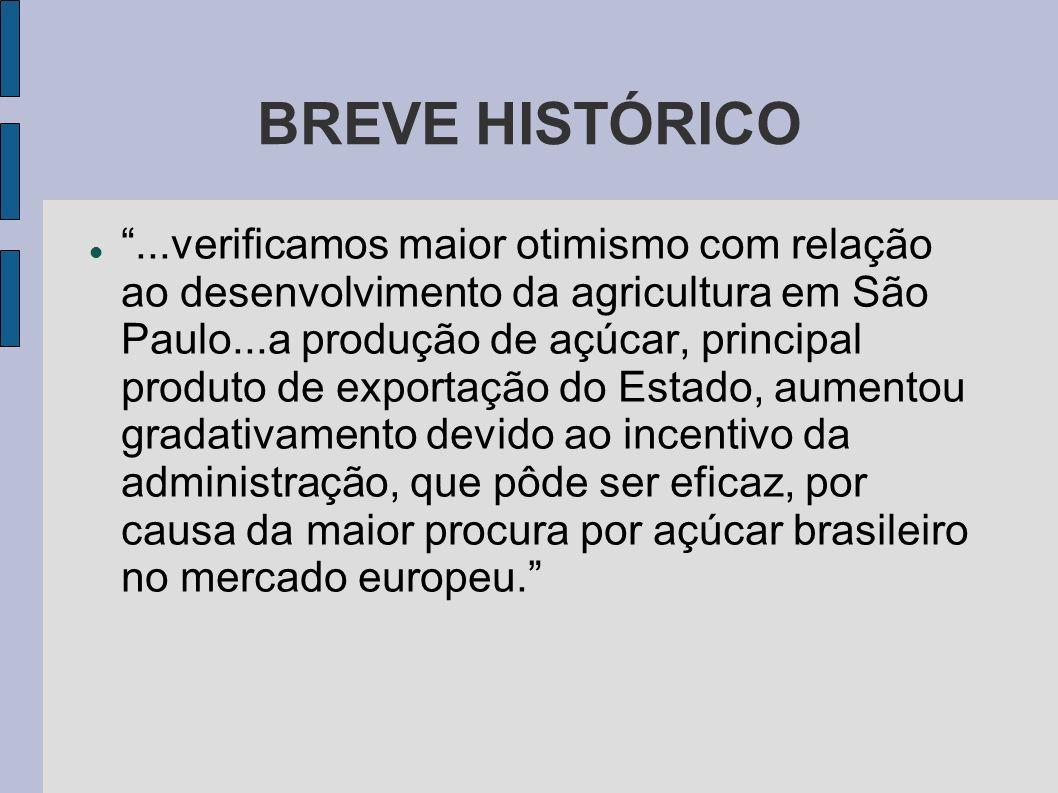 BREVE HISTÓRICO...verificamos maior otimismo com relação ao desenvolvimento da agricultura em São Paulo...a produção de açúcar, principal produto de e